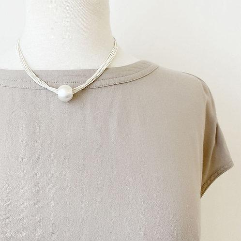 Collier Caracol, Multi-chaîne et boule métallique, Argent, 1357-SLV