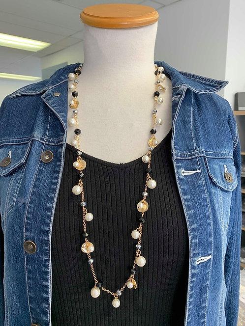 Collier long Spoutnik, Perle noire et blanche, chaîne or