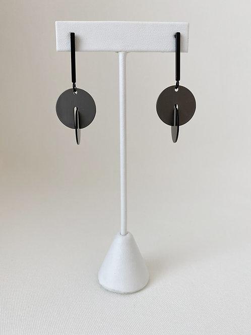 Boucles d'oreille Caracol, Cercles sur tige, Noir, 2290-BLK