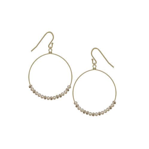 Boucles d'oreille Caracol, Anneau avec billes grises, Or, 2293-LGR