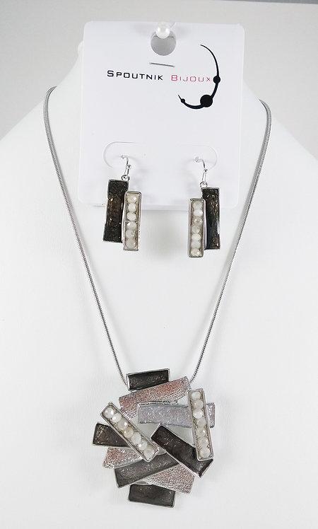 Ensemble collier et boucles d'oreille Spoutnik, Rectangle, ton de gris, argent