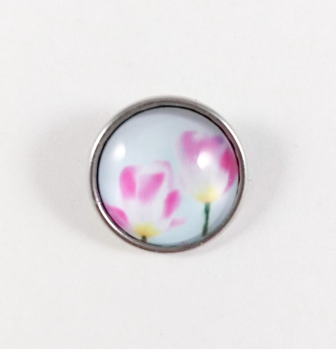 Bouton pression (snap) Nomaad Interchangeable, Tulipe rose