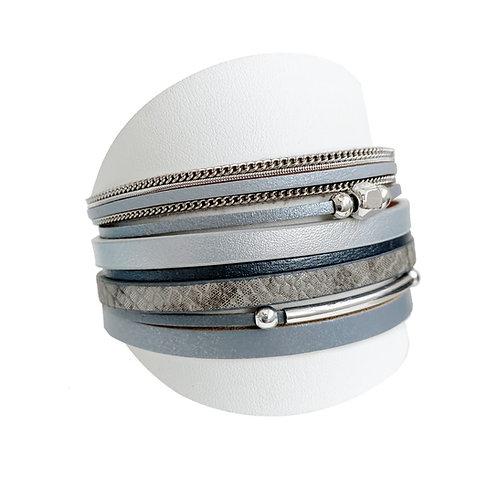 Bracelet Caracol, Cuir, Gris, 3149-GRY