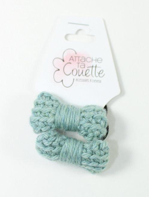 DUO Élastique pour cheveux ''Attache ta couette''boucle tricotée en laine,menthe