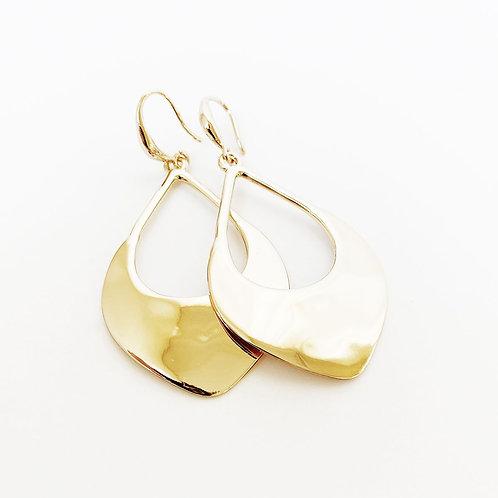 Boucles d'oreille Caracol, Goutte martelé, Or lustré, 2397-GLD