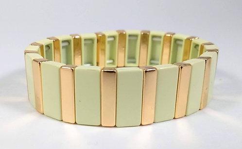Bracelet élastique Spoutnik, Rectangle crème et or