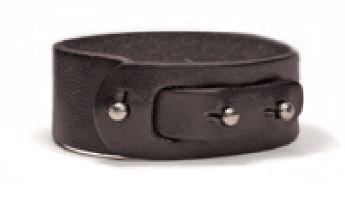 Bracelet pour Homme, cuir noir, 3 clous métal