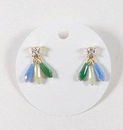 Boucles d'oreille Spounik: Verre facetté, 3 gouttes, bleu, blanc et vert