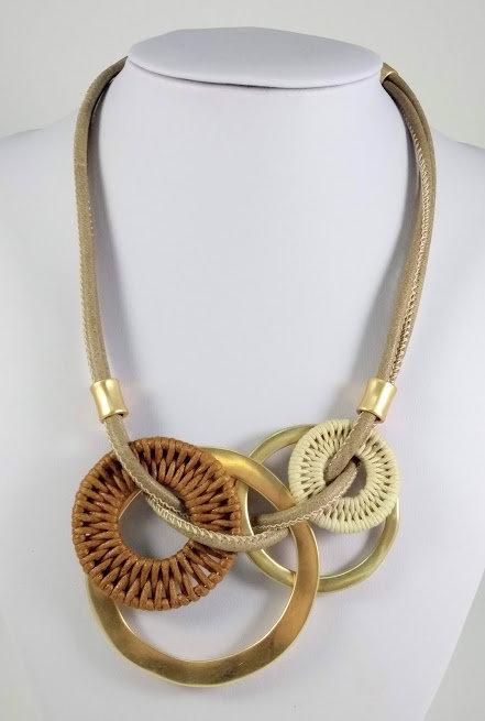 Collier Spoutnik, Cercles de corde, brun, beige et or