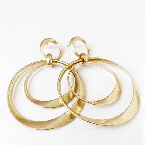 Boucles d'oreille Caracol, Gros anneaux de métal, Or usé, 2445-GLD