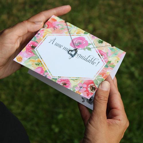 Carte de souhait avec collier ''À une mère formidable''