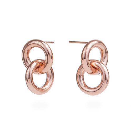 Boucles d'oreilles liaison, Acier inoxydable, Or rose