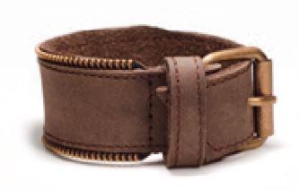 Bracelet pour Homme, cuir brun, Zipper