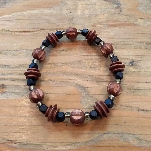 Bracelet pour garçon: Bois brun et noir, rainure