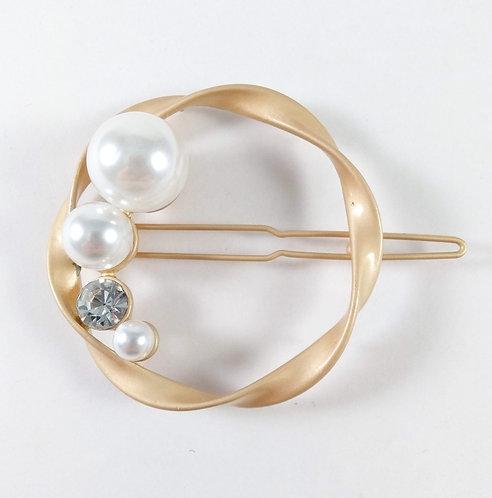 Barrette cercle or, perles et cristaux