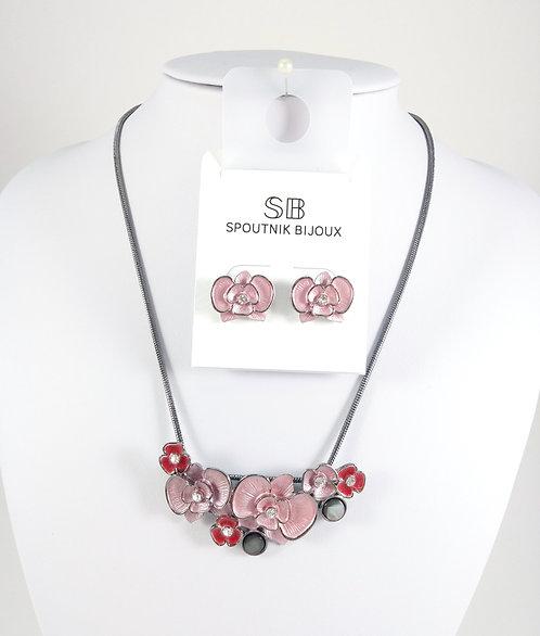 Ensemble collier et boucles d'oreille Spoutnik, Fleurs roses et magenta