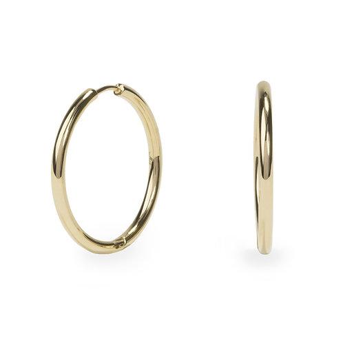 Boucles oreilles anneaux unies 30mm, Acier inoxydable, Or