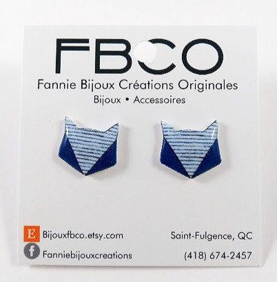 Boucles d'oreille FBCO ''Renard'' Bleu et blanc