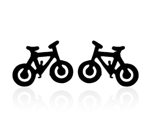 Boucles d'oreille acier inoxydable ''Vélo noir''