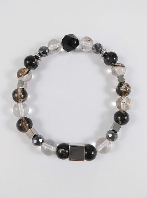 Bracelet #10 Quartz watermellon noir, Hématite et Onyx noir