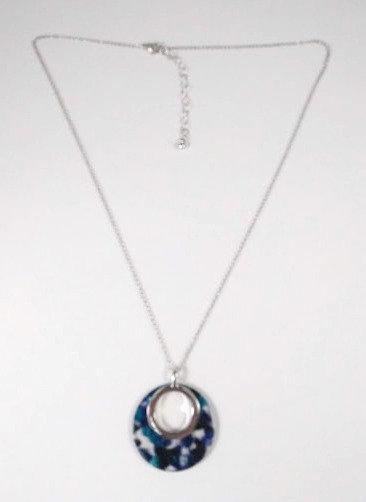 Collier mi-long Spoutnik bleu et argent