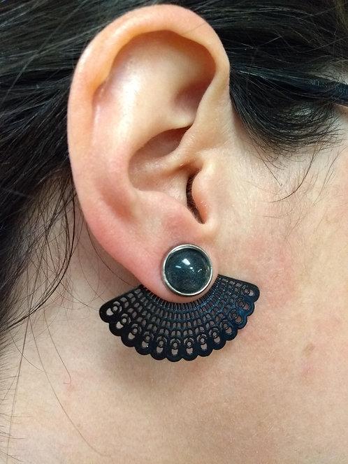 Boucles d'oreille GB Joaillière, 2 en 1, Noir et éventail noir