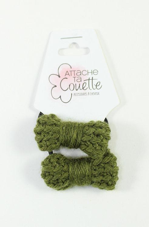 DUO Élastique pour cheveux ''Attache ta couette''boucle tricotée en laine, kaki