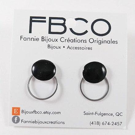 Boucles d'oreille FBCO ''Lollie'' Cercle noir, anneau argent
