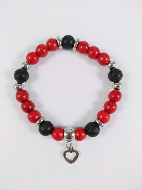 Bracelet #22 Magnésite teinte et pierre volcanique