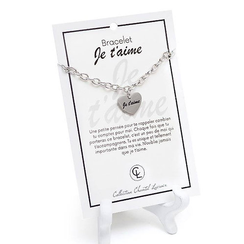 Bracelet Chantal Lacroix ''Je t'aime'', acier inoxydable