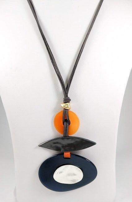 Collier long Spoutnik, Ovale bleu marin, orangé et argent, cordon taupe