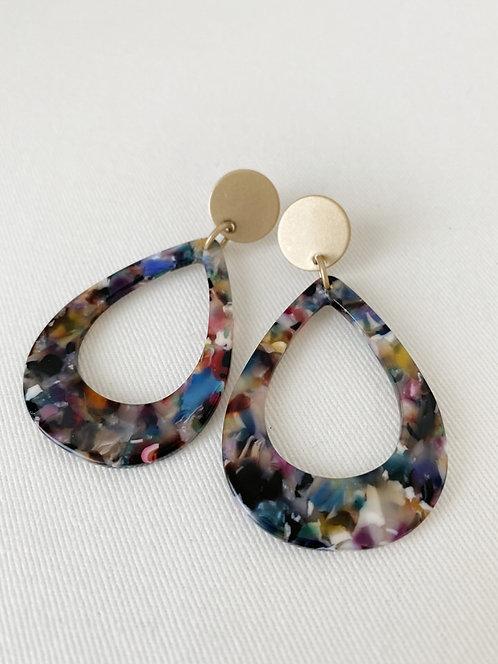 Boucles d'oreille Caracol, Goutte résine coloré, Or, 2435-GLD