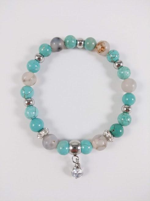 Bracelet #44 Turquoise et Agate de feu