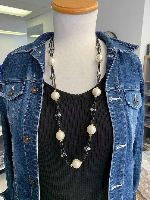 Collier long Spoutnik, Grosse perle, blanc et noir