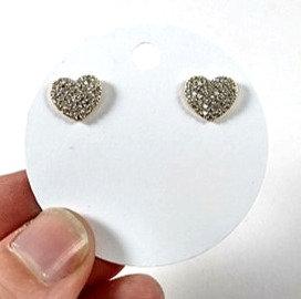 Boucles d'oreille Spounik: Coeur, pavé de cristal clair, Argent