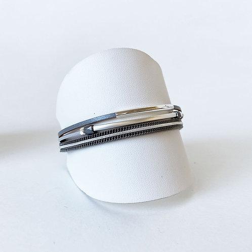 Bracelet Caracol, Cuir véritable, Tube, Gris, 3171-GRY