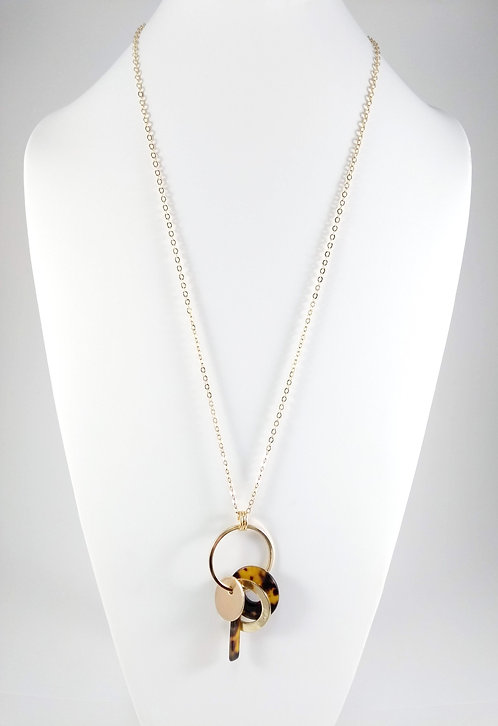 Collier long Spoutnik, Divers breloques acrylique léopard et or