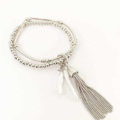2 Bracelets Caracol, billes métal, perles, Argent, 3165-SLV