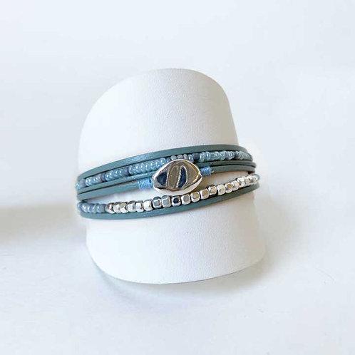 Bracelet Caracol, Cuir véritable, Turquoise, 3177-TRQ