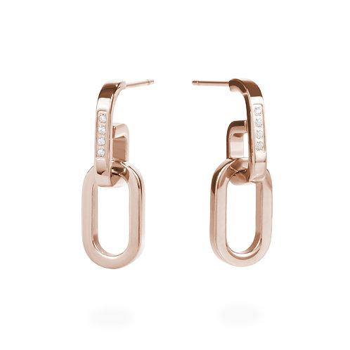 Boucles d'oreilles pendantes mailles, Acier inoxydable, Or rose