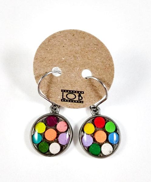 Boucles d'oreille LOB-crayons recyclés (Multicolore #12)