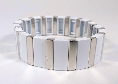 Bracelet élastique Spoutnik, Rectangle blanc et argent