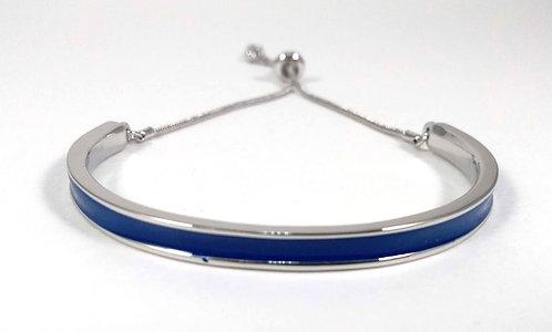 Bracelet Spoutnik ajustable, Demi-cercle rigide bleu marin et argent, ajustable
