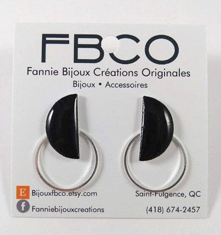 Boucles d'oreille FBCO ''Halfie'' Noir, Argent