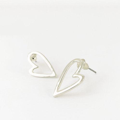 Boucles d'oreille Caracol, Coeur sur tige, Argent lustré, 2345-SLV