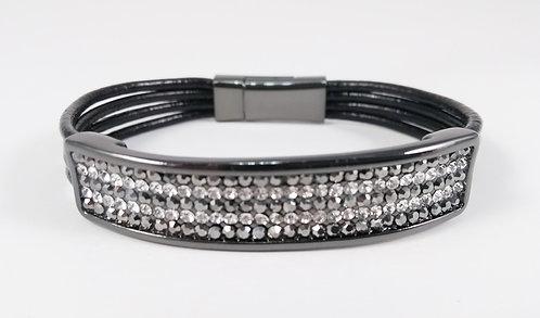Bracelet Spoutnik cuir noir avec rectangle hématite remplis de cristaux