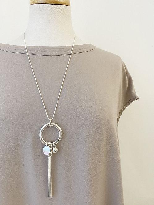 Collier long Caracol, pompon de chaîne et coquillage, Argent 1364-TAS
