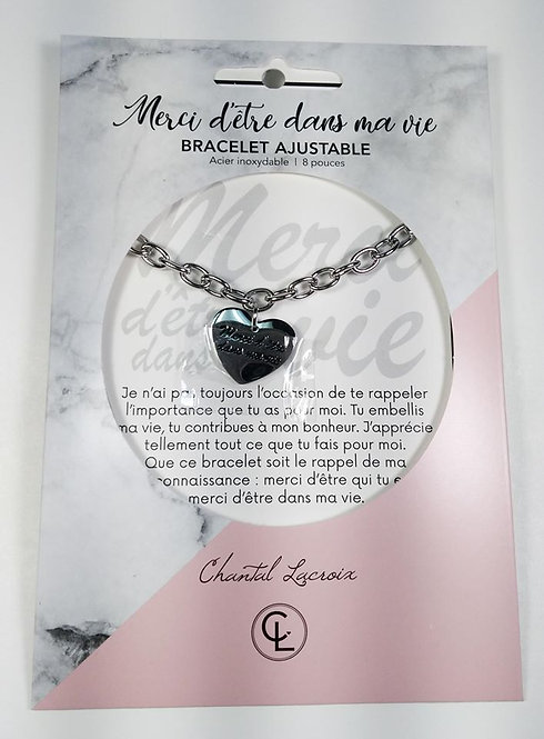 Bracelet Chantal Lacroix ''Merci d'être dans ma vie'', acier inoxydable