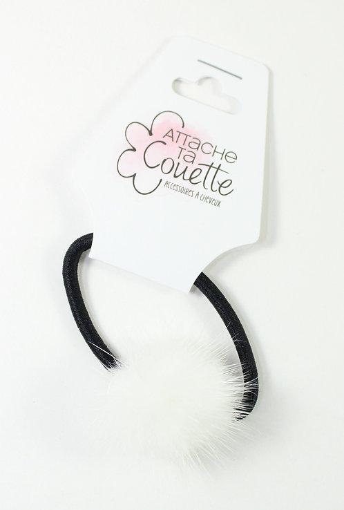 Élastique pour cheveux ''Attache ta couette'' fourrure, blanc