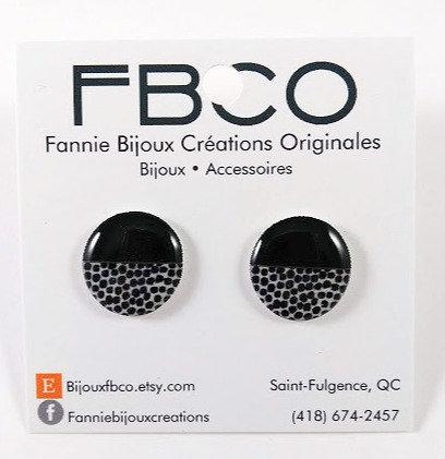 Boucles d'oreille FBCO ''Chikie noir et blanc''